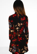 Forever Flora Black and Red Floral Long Sleeve Mini Dress