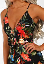 Black Tropical Print Wide Leg Jumpsuit - Detail