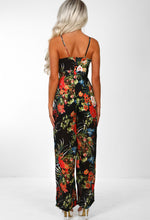 Black Tropical Print Wide Leg Jumpsuit - Back