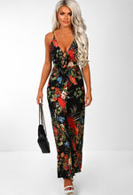 Black Tropical Print Wide Leg Jumpsuit - Front with Accessory