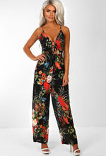 Black Tropical Print Wide Leg Jumpsuit - Front