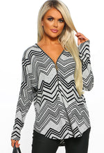 Grey Print Zip Front Long Sleeve Top - Front View