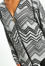 Grey Print Zip Front Long Sleeve Top - Close up View