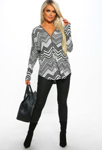 Grey Print Zip Front Long Sleeve Top - Front view with accessory