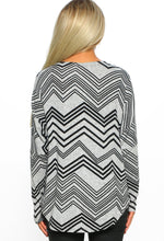 Grey Print Zip Front Long Sleeve Top - Back View