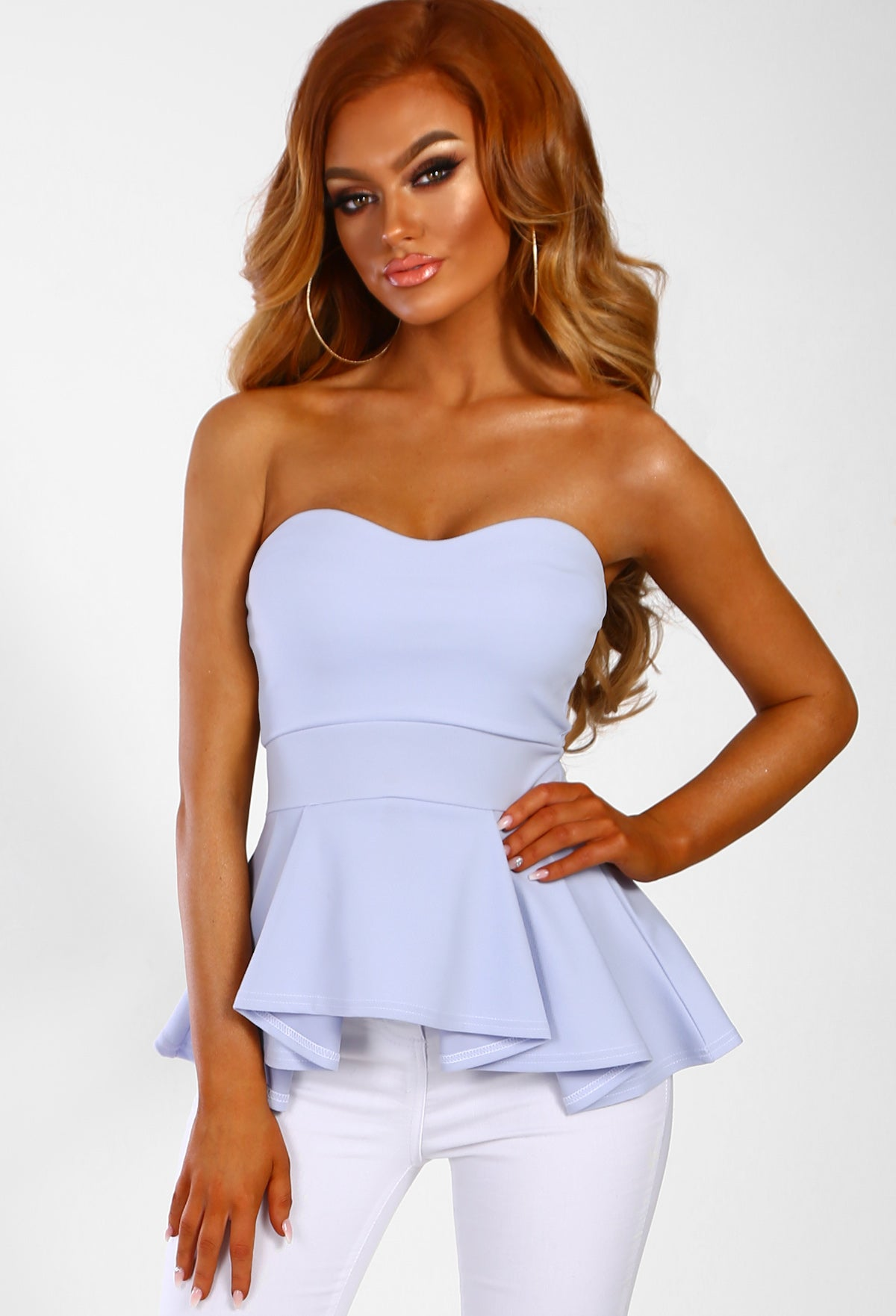 c04734c3c4 Forever Yours Baby Blue Strapless Peplum Top – Pink Boutique UK