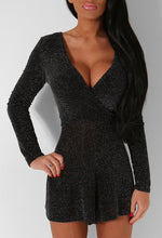 Foxy Black and Silver Lurex Glitter Wrap Front Playsuit