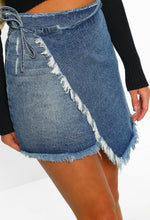 Frayed Away Blue Asymmetric Frayed Hem Wrap Denim Skirt