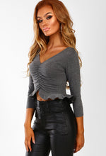 Frill Of Love Grey Ruched Front Frill Hem Crop Top