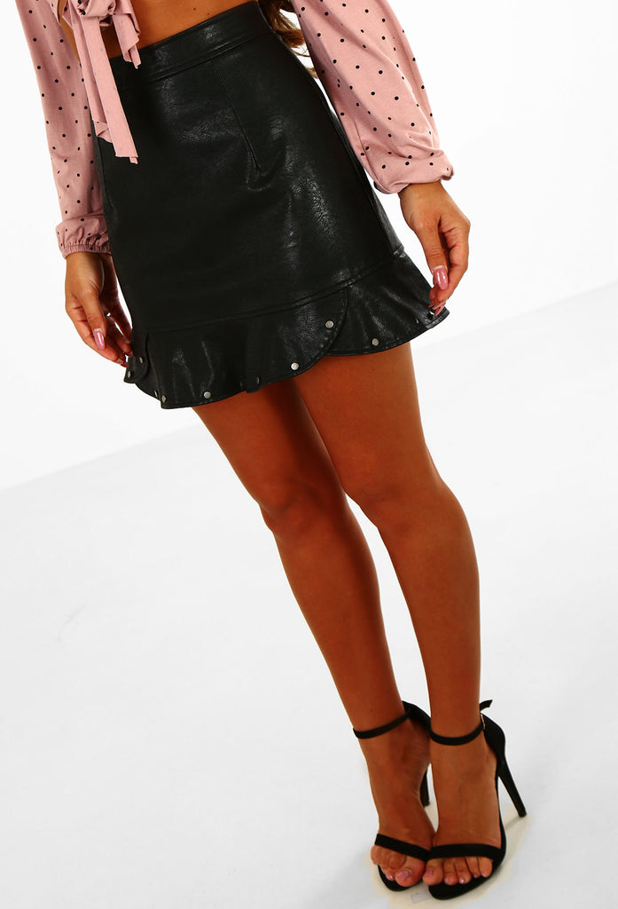 b77ea5182db Frill Time Black Faux Leather Studded Frill Mini Skirt – Pink Boutique UK