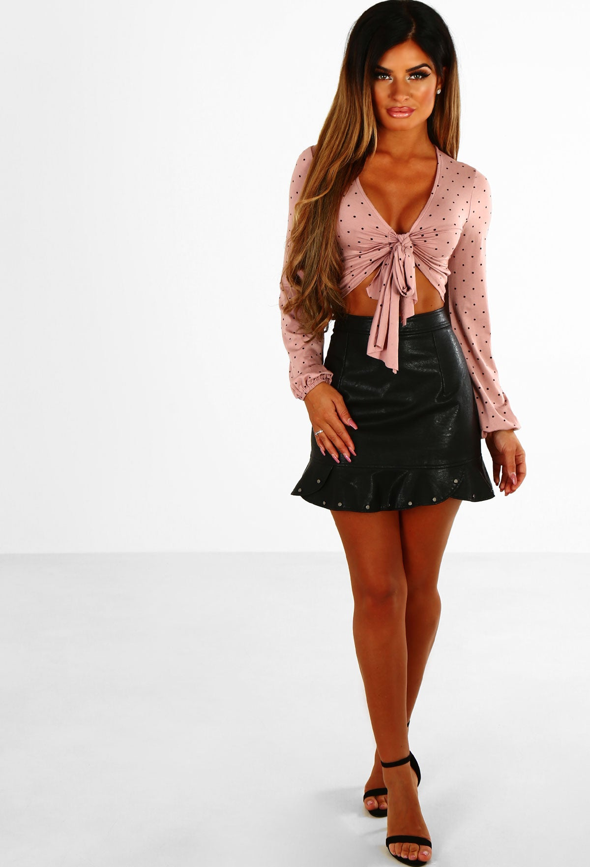 72334274cd Frill Time Black Faux Leather Studded Frill Mini Skirt – Pink ...