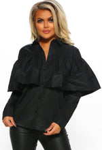 Black Frill Layer Long Sleeve Shirt