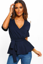 Navy Tie Detail Peplum Wrap Top - Front View