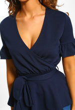 Navy Tie Detail Peplum Wrap Top - Close up View