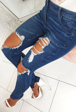 Indigo Distressed Skinny Jeans - With Background
