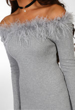 Grey Feather Bardot Jumper Dress - Feather Detail Close up