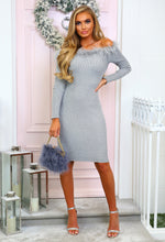 Grey Feather Bardot Jumper Dress - Front with Background