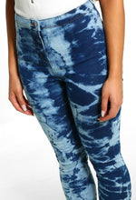 Blue Tie Dye Skinny Jeans - Close Up View