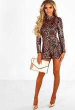 Funky Town Rose Gold Sequin Long Sleeve Playsuit