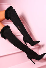 Fur Give Me Black Faux Fur Trim Stiletto Over The Knee Boots