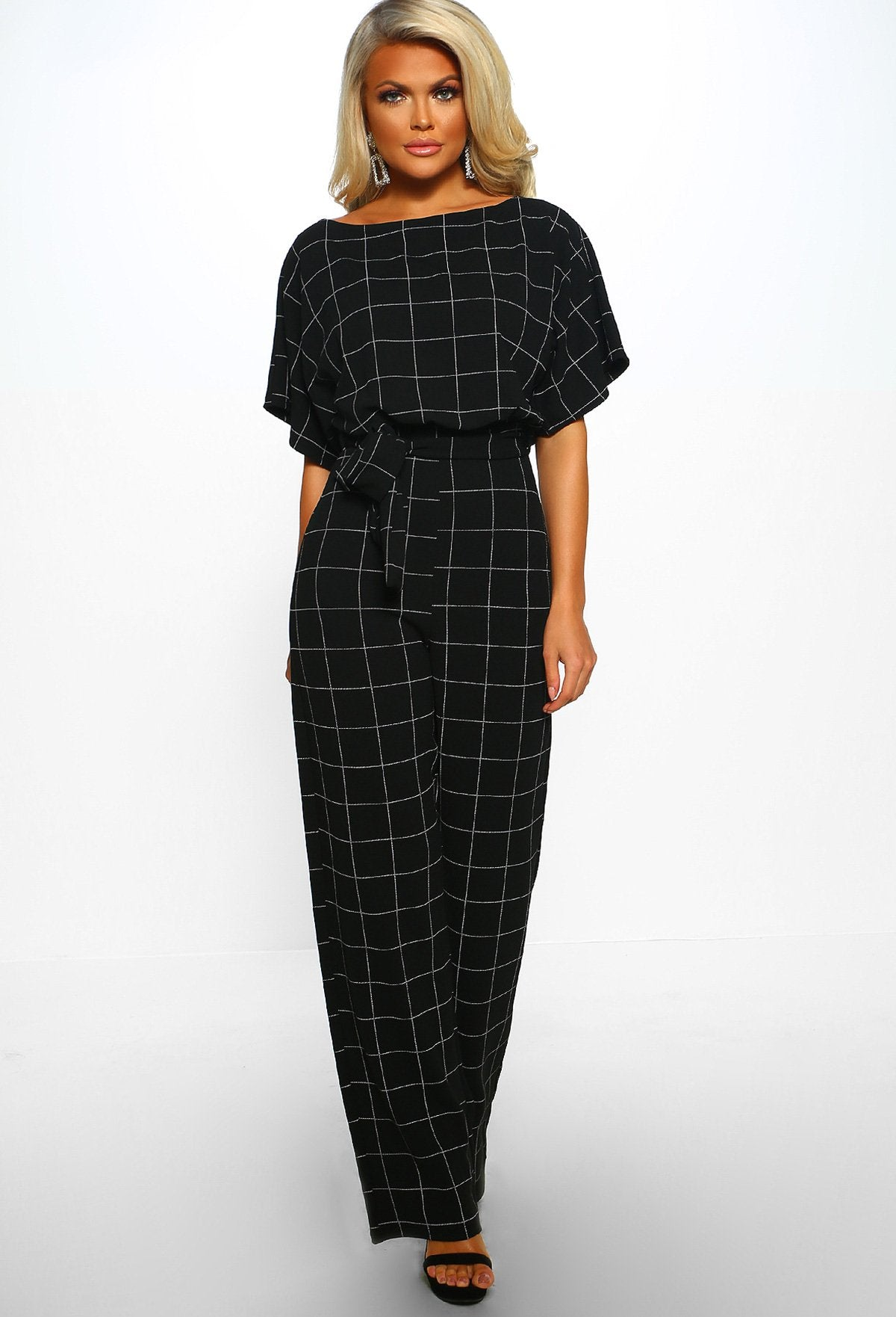 bfefd3cf1f17 Game Changer Black Checked Belted Wide Leg Jumpsuit – Pink Boutique UK