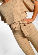 Stone Checked Wide Leg Jumpsuit - detail