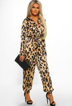 Leopard Print Cuffed Leg Jumpsuit - Front with Accessory