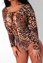 Gemma Leopard Print Lace Up Bodysuit