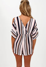 Gimmie Gorgeous NAVY Multi Stripe Cold Shoulder Playsuit