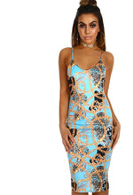 Girlfriend Material Blue Scarf Print Bodycon Midi Dress