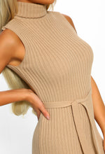 Girls Like You Nude Roll Neck Belted Knitted Dress