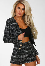 Girls On Film Black Boucle Button Detail Cropped Blazer