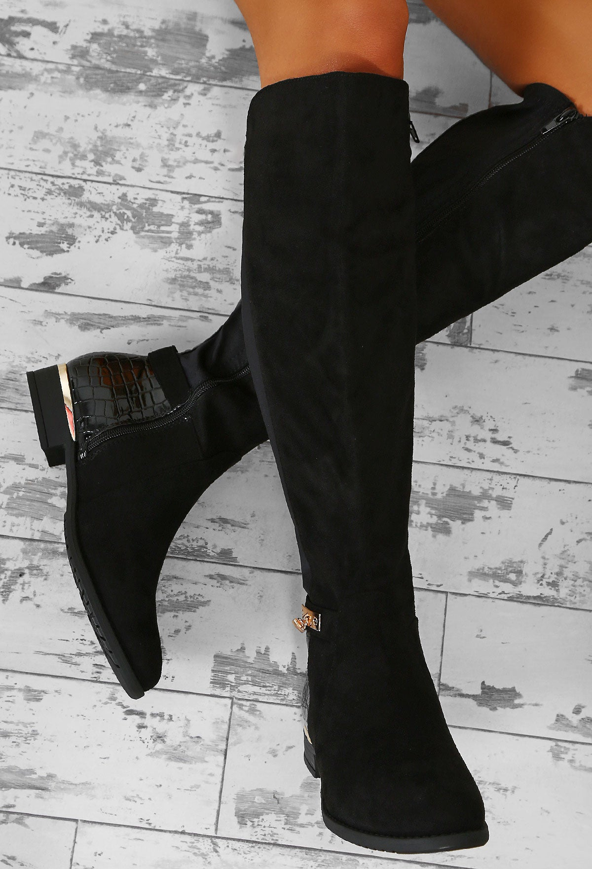 e5468cf48108 Giulia Black Faux Suede Knee High Flat Boots – Pink Boutique UK