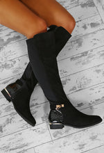 Giulia Black Faux Suede Knee High Flat Boots