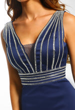 Navy Satin Embellished Maxi Dress - Embellishment Detail Close up