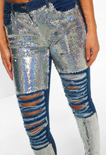 Glam It Up Blue Sequin Distressed High Waisted Skinny Jeans