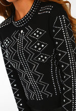 Glam List Black Diamante Embellished Long Sleeve Top