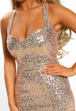 Champagne Frill Back Sequin Maxi Dress - Sequin Detail Closeup
