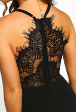 Black Lace Fishtail Maxi Dress - Lace Detail close up