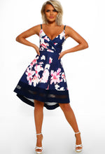 Wrap Front Skater Dress in Navy