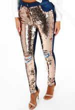 Glitter Ball Rose Gold Sequin Ripped Skinny Jeans