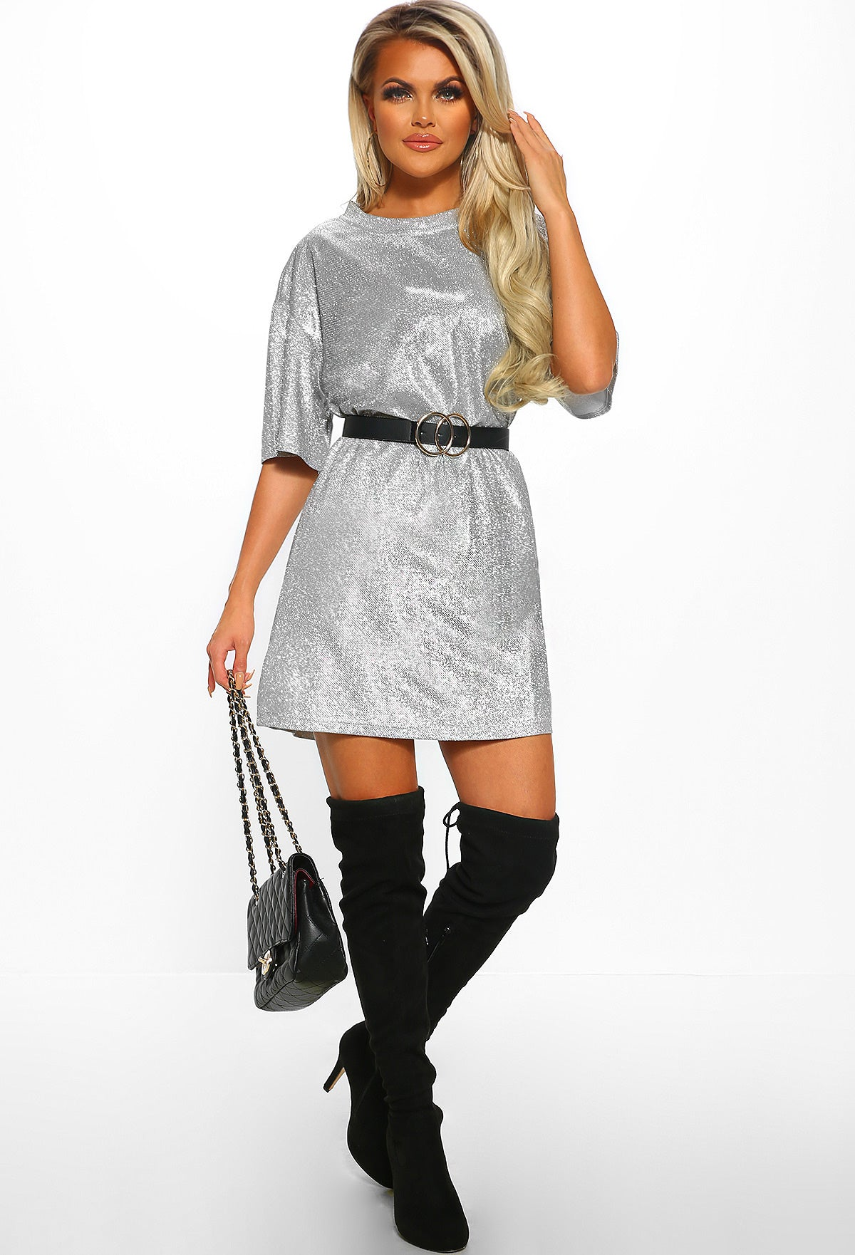 eab03d9f Oversized T Shirt Dress With Thigh High Boots