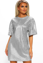 Glitterball Silver Glitter Oversized T-Shirt Dress