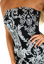 Glitz and Glamour Black and Silver Sequin Strapless Mini Dress