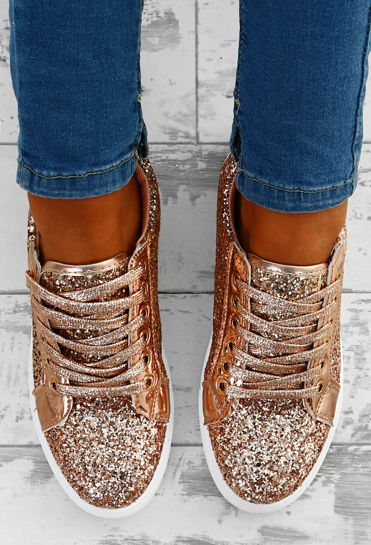 ee9bde8c2ec3 Glitz and Glory Rose Gold Glitter Trainers – Pink Boutique UK