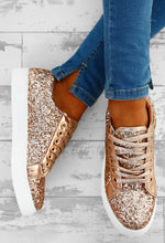 Glitz and Glory Rose Gold Glitter Trainers