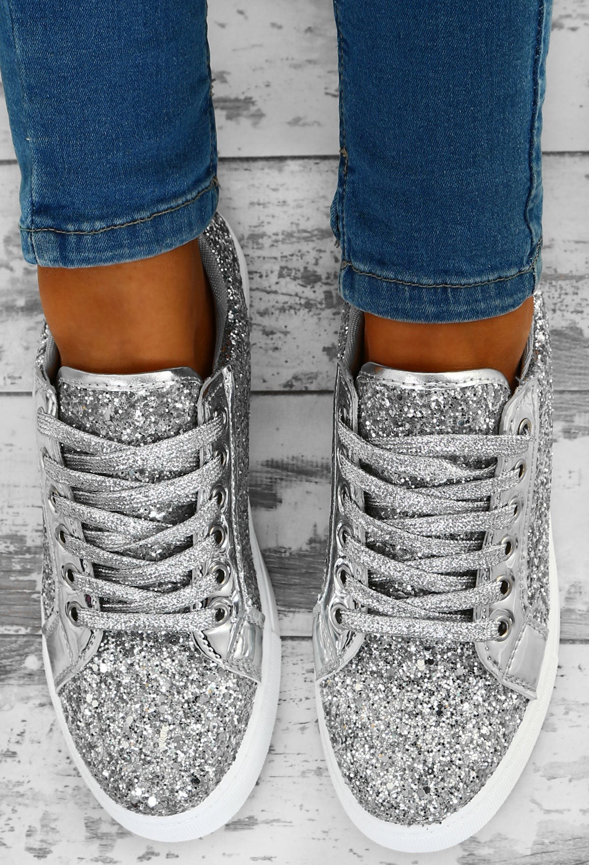 d57cf843d37d Glitz and Glory Silver Glitter Trainers – Pink Boutique UK
