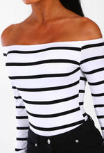 Glow Get It White and Black Stripe Long Sleeve Bardot Bodysuit