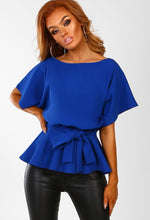 Glow On Fleek Cobalt Blue Batwing Peplum Top