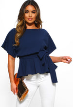 Glow On Fleek Navy Batwing Peplum Top